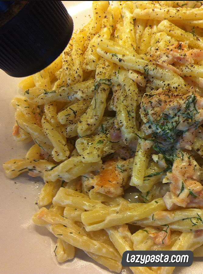 Casarecce with Salmon in White Sauce
