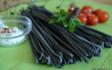 Squid ink linguine with tuna and mushrooms