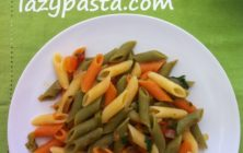 Mezze penne tricolore with fresh tomatoes