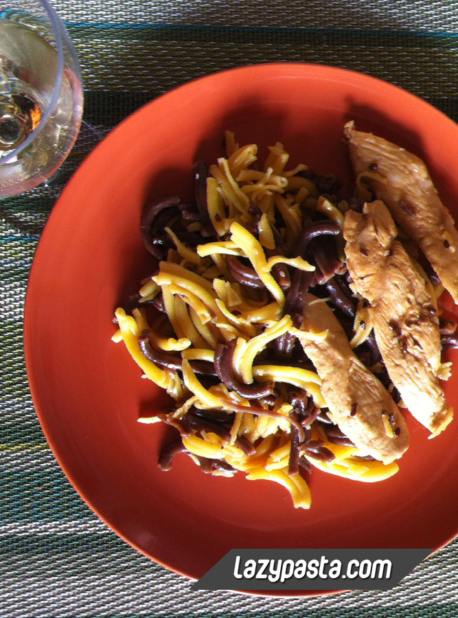 Chocolate and tangerine casarecce with chicken and soy sauce