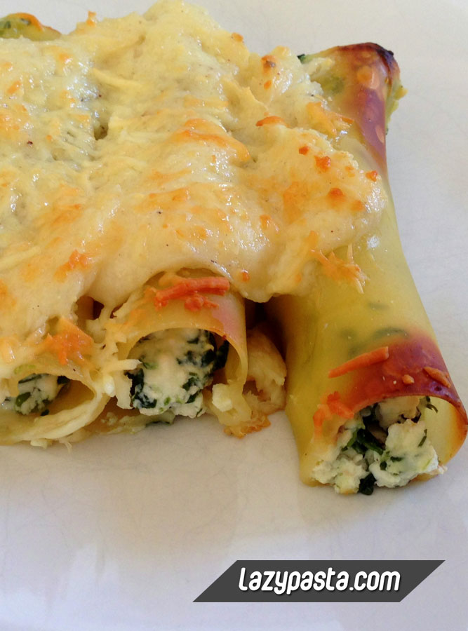 Cannelloni with Spinach, Ricotta and Bacon