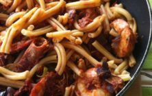 Casarecce with shrimps and tuna recipe.