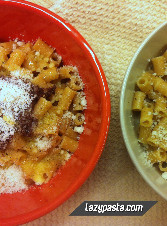 Ditalini with black olive paste and olive oil recipe.