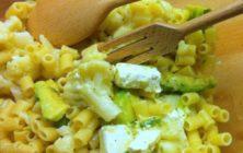 Ditaloni salad with cauliflower, avocado and feta cheese.