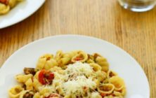 Gnocchi bolognaise with vegetables recipe.