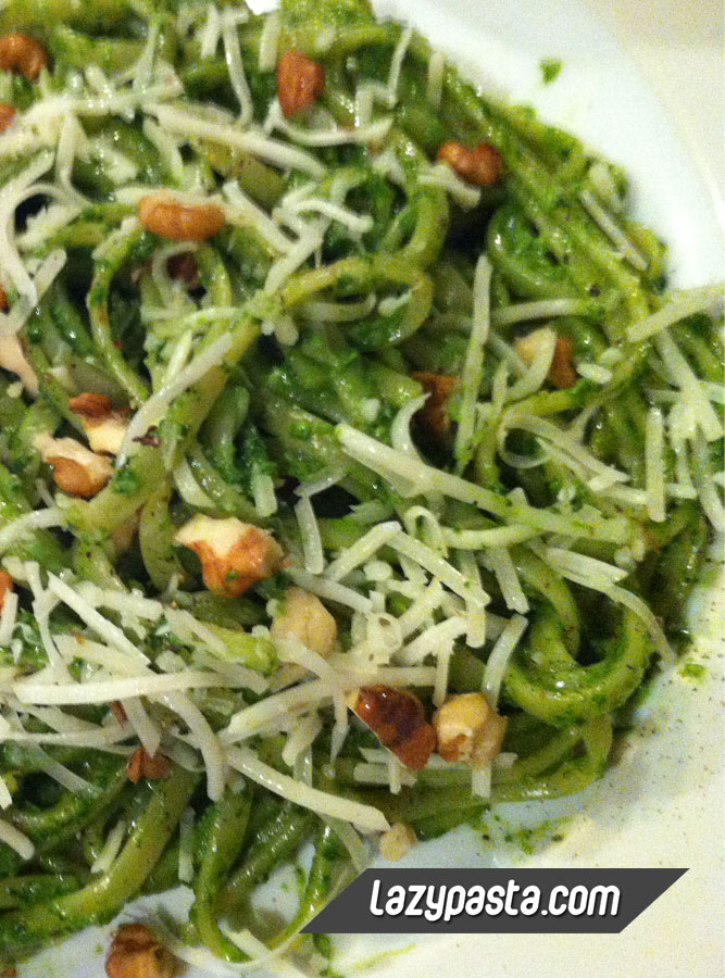 Linguine with spinach pesto recipe.