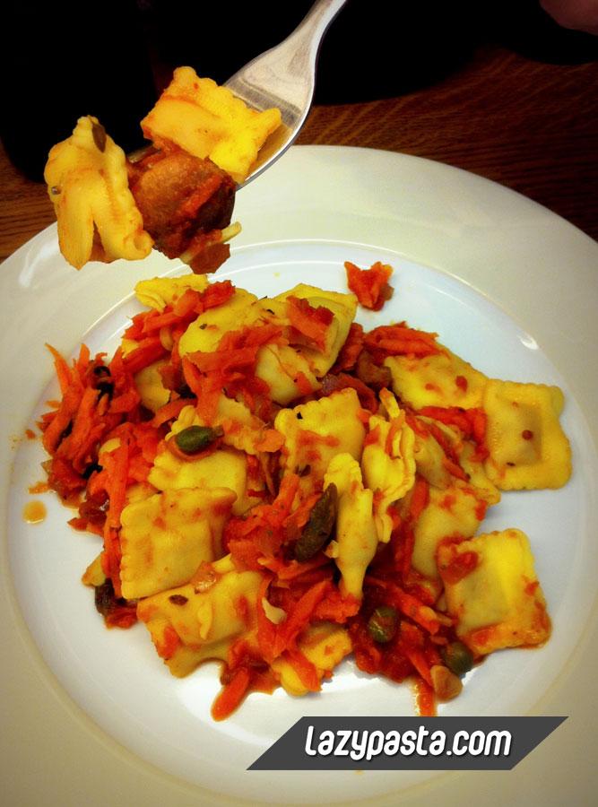 Ravioli with mushrooms and carrot
