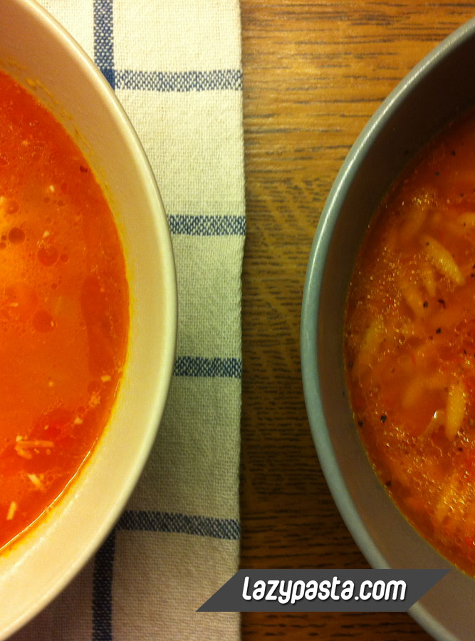 Red Orzo soup recipe.