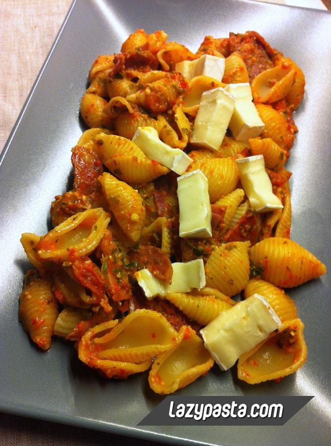 Spanish-style conchiglie with chorizo, lomo & jamon.